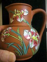 Red Clay Pottery Pitcher Enamel Painted Japanese Iris or Lilly & Fish