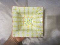 Vintage Mackenzie Childs Square Bowl Dish Dots & Dashes Retired Art Pottery 1983