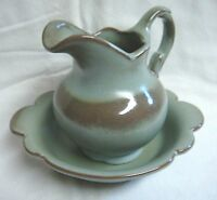 2 Pc FRANKOMA Green amp; Brown Art Pottery CLASSIC PITCHER amp; BASIN