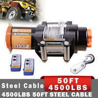 4500LB ATV Winch UTE 12V Electric Remote Waterproof Boat Steel Cable Kit offroad