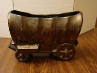 RARE Shawnee Kenwood Pottery Brown Bronze Metallic Covered Wagon Planter # 1511