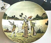 Antique French Sarreguemines Charger Plate #88 Stamp Giesha Asian Japanese Women