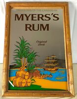 Myers's Rum Vintage Wood Framed Wall Mirror 14x20 Tiki Bar Man Cave She Shed