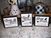 Mini set Hocus Pocus Sleepy Hollow Halloween signs Coffee bar tray decor