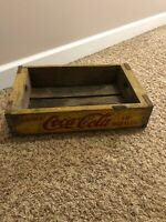 Vintage Coke Coca Cola In Bottles Yellow Wood Soda Crate Chattanooga No Dividers