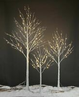 4ft, 6ft, 5ft Pre Lit Warm White LED Birch Tree Christmas Outdoor Xmas Light NEW