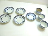 ANTIQUE STICK SPATTER SNOW FLAKE BLUE DECORATED IRONSTONE CUP AND SAUCER LOT
