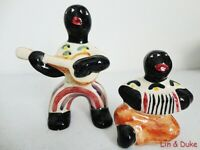 Vintage Pre-Katrina SHEARWATER POTTERY 2 Pc. MAN BAND FIGURINES - Marked - 1995?