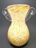 VINTAGE SPATTER ART GLASS VASE HAND BLOWN BOHEMIAN ART DECO CIRCA 1920s YELLOW