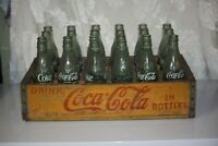 Vintage Yellow Wooden Crate Coke Coca-cola 24pk 1968 6.5oz Green Glass bottles