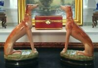 Stately Rare Pair Porcelain Whippet Mantle Figurines English Staffordshire Style