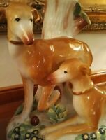 Precious Extremely Rare Extra Large Staffordshire Style Whippet Dog Spill Vase