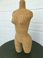 Vintage Mid Century Female Wicker Mannequin Torso Extra Large Booty