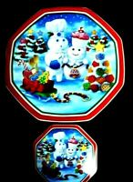 Danbury Mint Pillsbury Doughboy CUPCAKECOMPANION Christmas Plate Coaster Set NIB