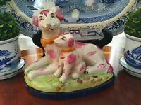 Preppy Pink and Green English Porcelain Staffordshire Style Dog w Puppy Figurine