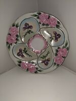 Vintage OYSTER PLATE-reproduction w  pink/purple foral theme Hand Painted