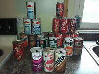 Vintage Soda Pop Cans Open Steel Pull Tabs Lot of 22 Variety of Different Brands