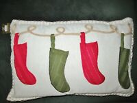 New Pier 1 Christmas Holiday embroidered Pillow