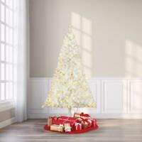 Pre-Lit 6.5' Madison Pine White Artificial Christmas Tree Clear-Light Home Decor