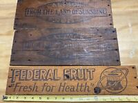 3 Antique Wood Signs Off Fruit Crates/ Boxes.