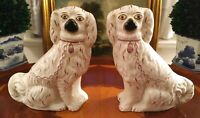 Traditional Style Rare Pair English Porcelain Staffordshire Mantle Figural Dogs