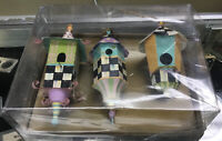 Authentic Mackenzie-Childs Spring Birdhouse Set of 3 Ornaments NEW NRFB