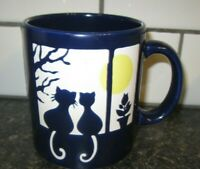 Vintage Waechtersbach Mug Cup Blue Cats In Window with Moon from Spain