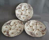 3 Antique German Weimar 4 Well Porcelain Oyster Plates  / Dish With Sea Life