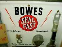 RARE NOS NEAR MINT 40's Vintage BOWES SEAL FAST Old Gas Station Display Tin Sign