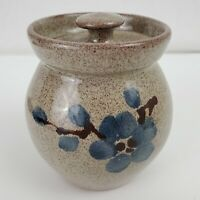 Old Time Pottery Small Spring Blossom Pot / Sugar Bowl with Lid 1998 Winthorp WA