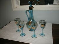 Vintage Bohemian Crystal Blue/Aqua Decanter Set With Gold Flowers 4 Wine Glasses