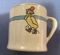 ANTIQUE ROSEVILLE JUVENILE CREAMWARE MUG CHILDS CUP WITH PUDDLE DUCK