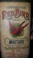 SCARCE EARLY RED BIRD MUSTARD SPICE TIN PAPER LABEL MIDLAND GROCERY COMPANY
