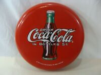 """Coke Button 12"""" Round Metal Sign Button Drink Coca Cola In Bottles Excellent"""