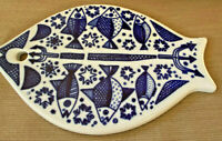 Fish Shaped Figural Trivet Porcelain Porsgrund Norway Varetakta P555 Blue Stars