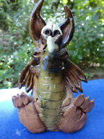Signed CHREST -Brown and Green Dragon Handcrafted Stoneware Art Pottery Figurine