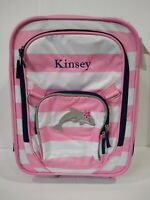 Pottery Barn Kids Fairfax Pink Striped Rolling Small Suitcase with name KINSEY