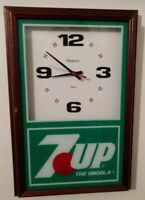 Collectible 1996 Hanover 7up THE UNCOLA Quartz Wall Clock Soda Advertising Used