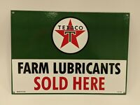 Vtg Texaco Farm Lubricants Sold Here Advertising Porcelain Sign Gas