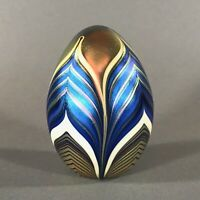 Signed ORIENT & FLUME Egg-Shaped Pulled Feather Glass Paperweight, Dated 1977