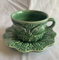 6 Bordello Pinhero Majolica Green Rabbit Cups & Saucers