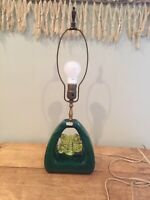 Vintage Mid-Century Royal Haeger Pottery Green Flower Table Lamp no Shade