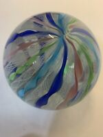 Vintage Glass Paper Weight , Ribbon Color Design Beautiful