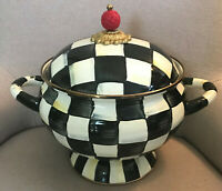 Mackenzie Childs Courtly Check Enamelware Soup Turneen - New in Box