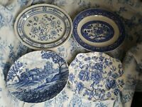 English Ironstone Blue And White Platters Lot of 4 mixed