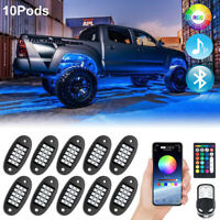 Mustwin RGB LED Rock Lights Wireless APP Music Chasing Offroad ATV 12V 10 Pods