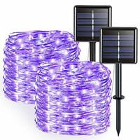 JMEXSUSS Purple Halloween String Lights Solar String Lights Outdoor Waterproo...