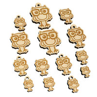 Owl Smart with Glasses Mini Wood Shape Charms Jewelry DIY Craft $9.99