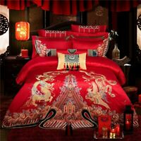 10pcs Bedding Sets King Size Bed Covers Bed Linen Duvet Cover Red Embroidery