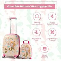 Costway 18quot; Carry On Suitcase Wheels amp; 12quot;Travel Backpack 2PC Kids Luggage Set